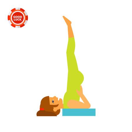 Woman doing yoga in sarvangasana pose, side view. Exercise, meditation, balance. Asana concept. Can be used for topics like yoga, health, fitness.