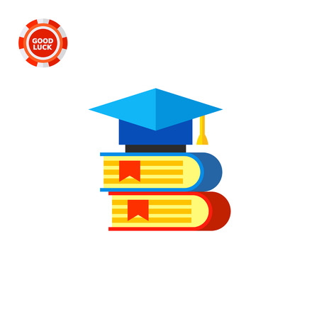 Two books with graduate cap lying on them. Knowledge, university, library. Science books concept. Can be used for topics like science, study, education.