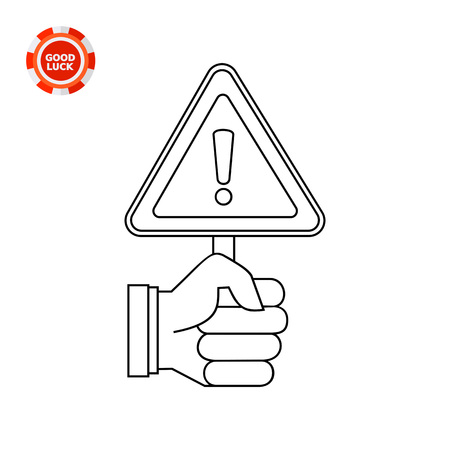 Human hand holding warning sign. Metaphor, hazard, safety. Warning and precaution concept. Can be used for topics like marketing, business, industry.