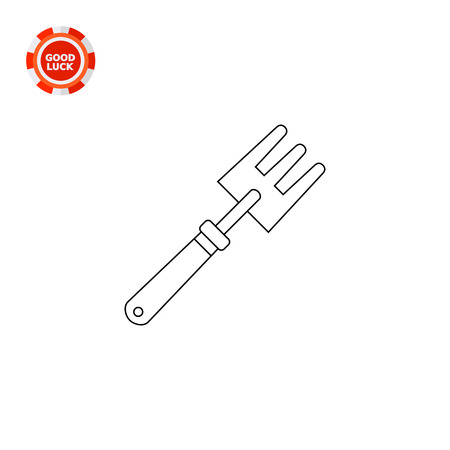 loosening: Garden hand rake with three tines. Household, manual, loosening. Garden equipment concept. Can be used for topics like gardening, agriculture, equipment. Illustration