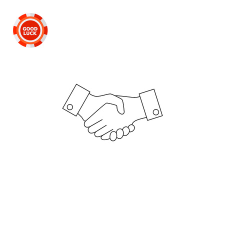 convention: Two shaking man hands. Metaphor, partnership, agreement. Handshake concept. Can be used for topics like friendship, business, marketing. Illustration