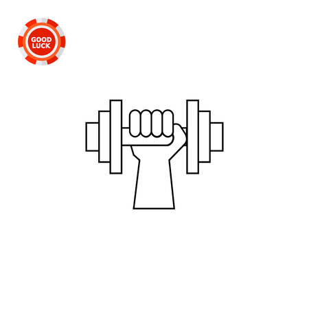 hand with dumbbell: Hand holding dumbbell. Training, heavy, strength. Fitness concept. Can be used for topics like sport, health, bodybuilding.