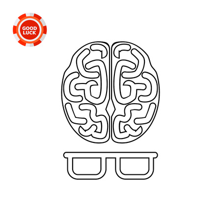 comprehension: Human brain and glasses. Metaphor, mind, knowledge. Intelligence concept. Can be used for topics like technology, business, science. Illustration