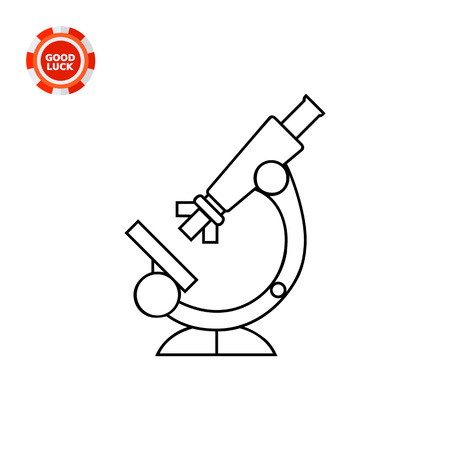 inspecting: Scientific instrument used for inspecting too small objects. Cure, study, zoom. Microscope concept. Can be used for topics like medicine, health, therapy, technology, science.