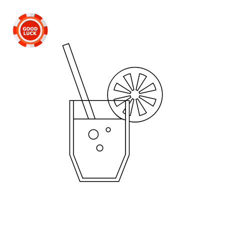 refreshment: Glass of lemonade with straw and lemon slice. Drinking, beverage, refreshment. Lemonade concept. Can be used for topics like beverage, lemonade, summer drinks Illustration