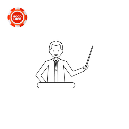 Illustration of businessman with pointer making report. Presentation, speaker, meeting. Making report concept. Can be used for topics like making report, business, presentation Illustration