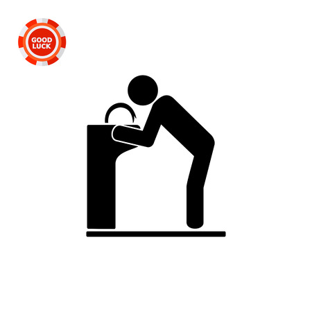thirst: Man drinking from drinking fountain. Thirst, water, park. Drinking fountain concept. Can be used for topics like parks, technology, marketing.