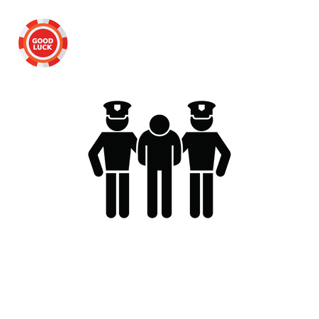 detained: Man detained by two policemen. Arrest, guilt, crime. Criminal concept. Can be used for topics like jurisprudence, criminality, business.