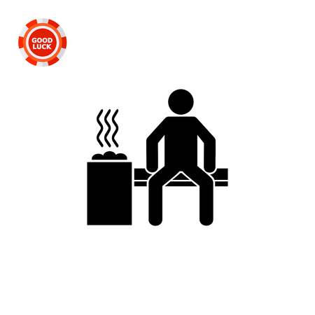 Man sitting in sauna room. Heat, health, relaxation. Sauna concept. Can be used for topics like traditions, therapy, lifestyle.