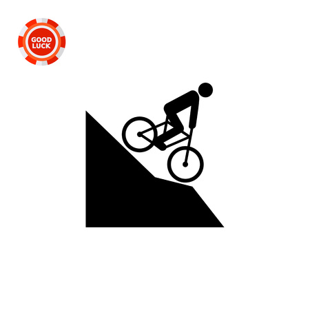 Man riding mountain bike downhill. Extreme, fast, fun. Mountain bike concept. Can be used for topics like sport, lifestyle, bicycling.