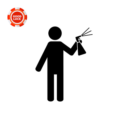 insect control: Man spraying liquid from bottle with sprayer into air. insecticide, paint. Spray concept. Can be used for topics like insect control, agriculture, household chemicals. Illustration