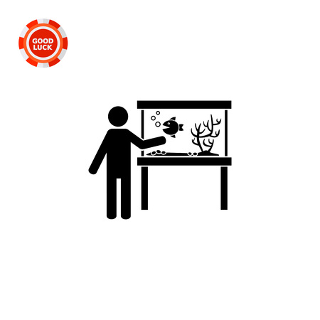 plant stand: Man standing by aquarium. Water, decoration, pet. Aquarium concept. Can be used for topics like interior design, marine animals, biology. Illustration
