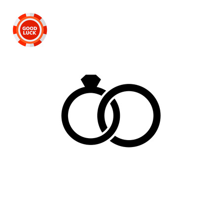 representing: Monochrome vector icon of two connected rings, one of them with gem, representing marriage concept