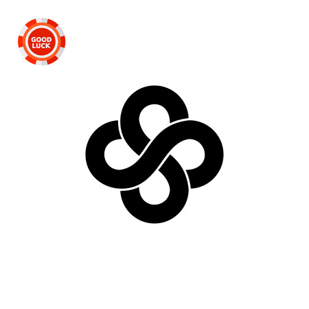 Monochrome vector icon of two infinity signs representing mathematics concept Illustration