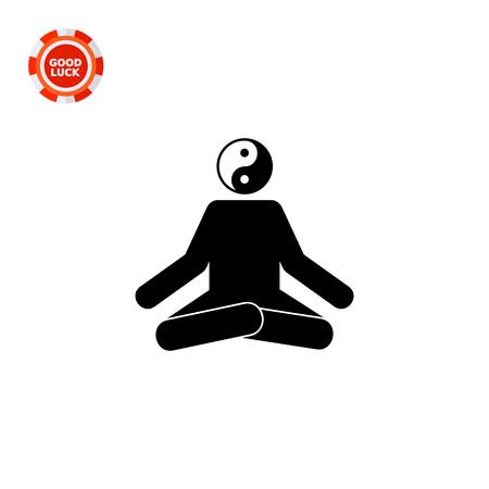 yin y yan: Hombre sentado en posición de loto con el yin yang firmar en lugar de la cabeza. Concentración, relajación, oriental. Concepto de la meditación. Puede ser utilizado para temas como la meditación, la práctica espiritual, religión.