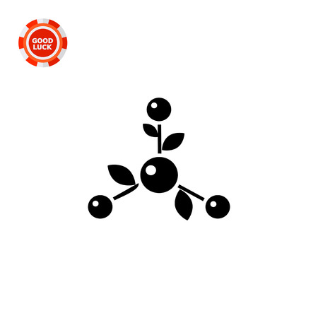 natural science: Monochrome vector icon of molecule with leaves representing natural science concept