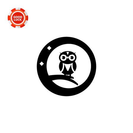 night owl: Night owl vector icon. Black and white illustration of cartoon owl sitting on branch
