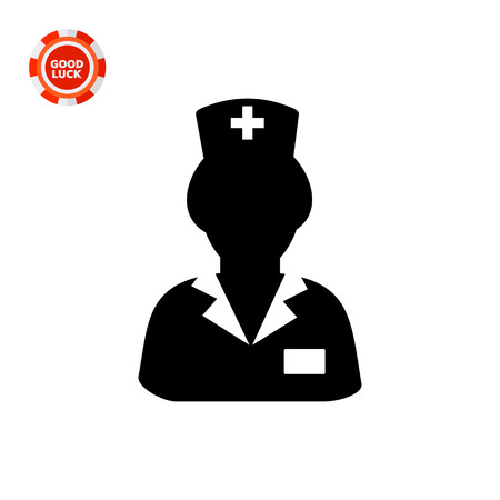 nursing clothes: Female character in nurse uniform. Professional, staff, care. Nurse concept. Can be used for topics like medicine, healthcare, health. Illustration
