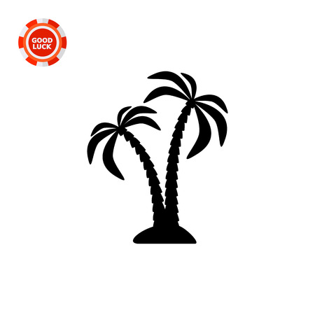 Pair of coconut palms on islet. Summer, resort, tropical. Palm concept. Can be used for topics like botany, nature, tourism.