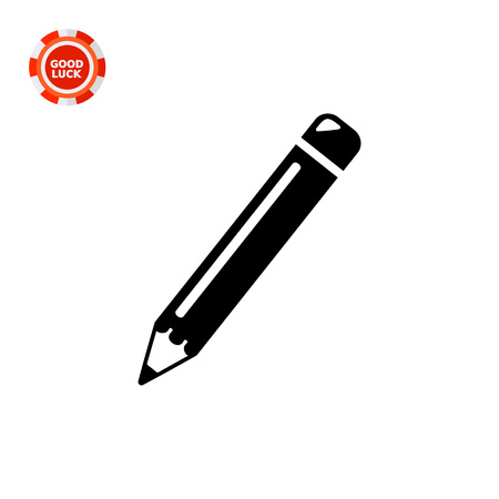 Monochrome vector icon of sharp pencil with eraser Illustration