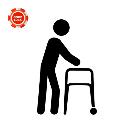 Person with walker. Aid, care, disability. Disabled concept. Can be used for topics like medicine, health, technology. Illustration