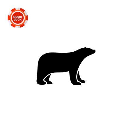 Vector icon of dark realistic polar bear silhouette