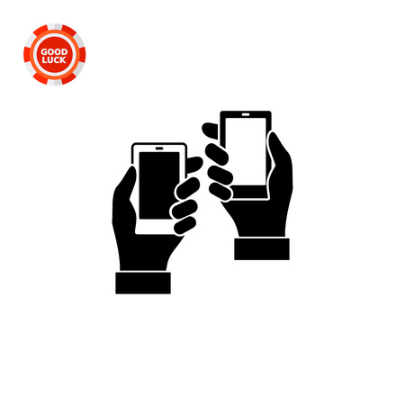embedding: Vector icon of two man hands holding smartphones representing product placement