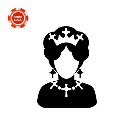 faceless: Monochrome vector icon of queen of England faceless silhouette