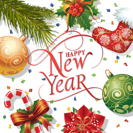 typed: Happy New Year lettering. New Year Day greeting card with fir tree twig, mistletoe, balls and confetti. Typed text. For greeting cards, posters, leaflets and brochures. Illustration