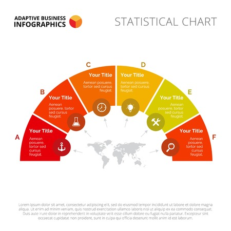 segmented: Semicircle segmented diagram. Business data. Presentation element, diagram, chart. Creative concept for infographics, templates, reports. Can be used for topics like strategy, planning, commerce Illustration