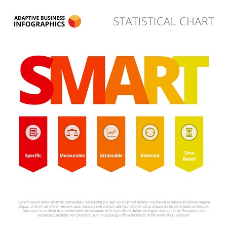 smart goals: SMART goals diagram. Business data. Presentation element, diagram, mind map. Creative concept for infographics, business templates, reports. Can be used for topics like strategy, planning, achievement Illustration