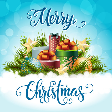 postcard box: Christmas calligraphic lettering. Merry Christmas inscription with fir sprigs, present boxes, Christmas balls, stars. Holiday concept. Handwritten text can be used for postcards, banners, posters
