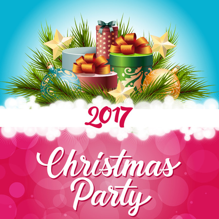 thousand: Christmas party lettering. Two thousand seventeen inscription. Decorations, fir sprigs, Christmas balls, present boxes with bow, stars. Handwritten text can be used for postcards, banners, posters Illustration