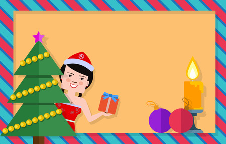 maiden: Christmas and New Year postcard design. Vector icons of fir tree, snow maiden with present box, Christmas balls, burning candle. Blank template can be used for postcards, greeting or invitation cards