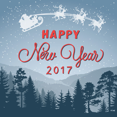 typed: Happy New Year 2017 lettering. New Year Day greeting card with forest, Santa Claus and reindeers. Handwritten and typed text, calligraphy. For greeting cards, posters, leaflets and brochures.