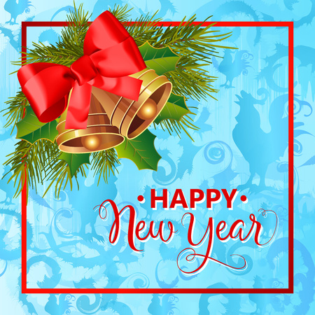 be happy: Happy New Year lettering. Calligraphic inscription decorated with jingle bells, bow, mistletoe leaves, fir sprigs on background with rooster silhouettes. Can be used for postcards, banners, posters