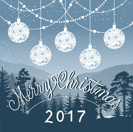 greyscale: Merry Christmas 2017 lettering. Christmas greeting card with greyscale forest and balls. Handwritten and typed text, calligraphy. For greeting cards, posters, leaflets and brochures.