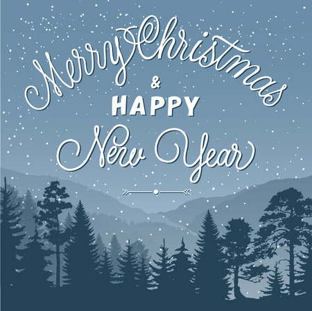 greyscale: Merry Christmas and Happy New Year lettering. Christmas greeting card with greyscale forest. Handwritten and typed text, calligraphy. For greeting cards, posters, leaflets and brochures.