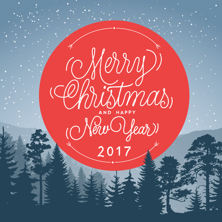 greyscale: Merry Christmas and Happy New Year 2017 lettering in circle. Christmas greeting card with greyscale forest. Handwritten text, calligraphy. For greeting cards, posters, leaflets and brochures.