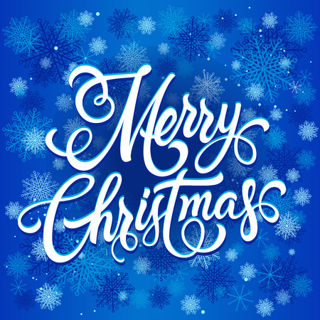 Merry Christmas lettering. Christmas greeting card with snowflakes in background. Handwritten text, calligraphy. For greeting cards, posters, leaflets and brochures.