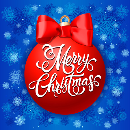 Merry Christmas lettering. Christmas greeting card with ball and lettering on it. Handwritten text, calligraphy. For greeting cards, posters, leaflets and brochures. Illustration
