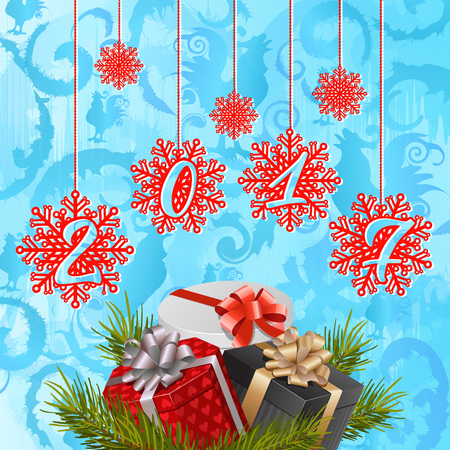 2017 lettering on snowflakes. Christmas greeting card with fir tree twigs and gifts. Handwritten text, calligraphy. For greeting cards, posters, leaflets and brochures.
