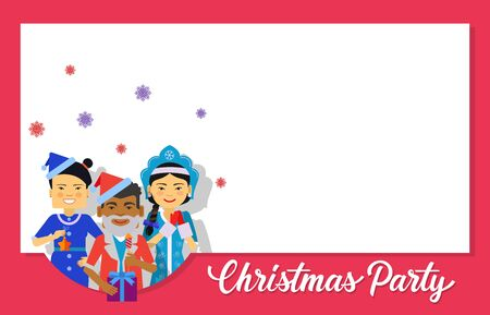 maiden: Christmas invitation card design. Christmas party lettering with characters wearing Santa Claus and Snow Maiden costumes. Blank template can be used for postcards, invitation cards, posters Illustration