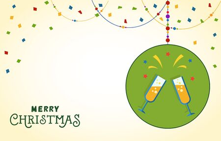 Christmas postcard design. Merry Christmas lettering on background with confetti and bead garland. Two flutes of champagne in circle. Blank template can be used for postcards, greeting cards, posters Illustration