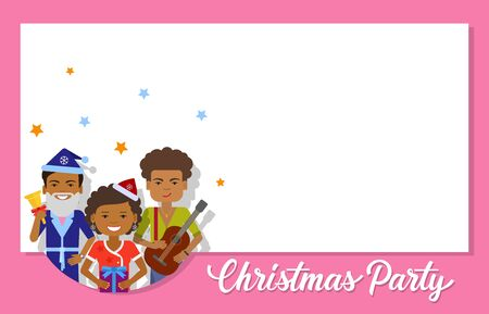 maiden: Christmas invitation card design. Christmas party lettering with characters wearing Santa Claus and Snow Maiden costumes. Party concept. Blank template can be used for cards, invitation cards, posters Illustration