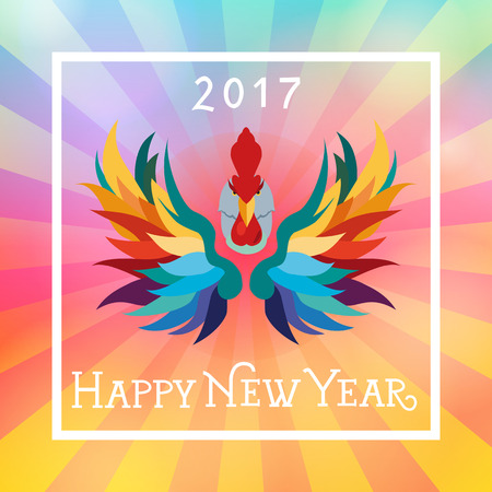 Happy New Year 2017 lettering in frame. Christmas greeting card with stylized colorful rooster. Typed text. For greeting cards, posters, leaflets and brochures. Illustration