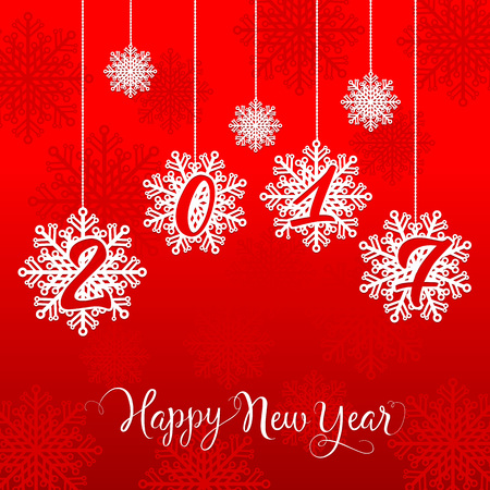 Happy New Year 2017 lettering. New Year Day greeting card with snowflakes. Handwritten text, calligraphy. For greeting cards, posters, leaflets and brochures. Illustration