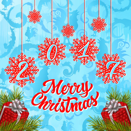 Merry Christmas 2017 lettering. Christmas greeting card with snowflakes and presents. Handwritten text, calligraphy. For greeting cards, posters, leaflets and brochures.