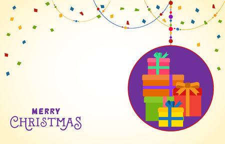 Merry christmas postcard design merry christmas lettering on merry christmas postcard design merry christmas lettering on background with confetti and bead garland maxwellsz