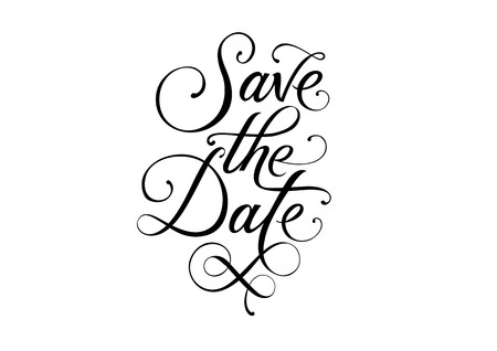 Save the date calligraphic lettering with swirl elements. Black Save the date inscription on white background. Handwritten text can be used for invitation cards, posters, flyers